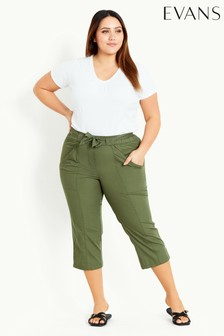 Evans Green Belted Poplin Cropped Trousers