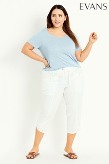 Evans White Poplin Cropped Trousers