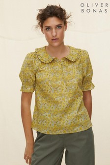 Oliver Bonas Yellow Yellow Floral Collar Top