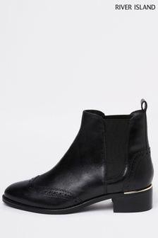 River Island Black Chelsea Brogue Boots