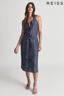 REISS Blue Keeley Linen Blend Midi Dress