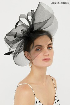 Accessorize Black Rhea Oversized Bow Fascinator Headband