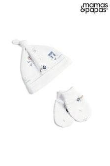 Mamas & Papas White Printed Hat and Mitts Set