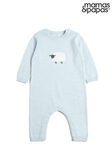 Mamas & Papas Blue Knitted Character Romper