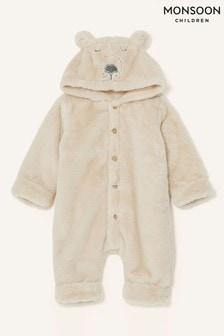 Monsoon Newborn Bear Soft Pramsuit