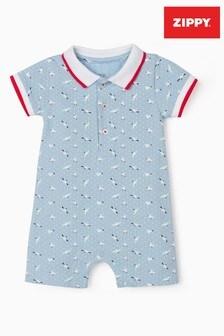 Zippy Knit Baby Boys Dark Blue Seagulls Jumpsuit