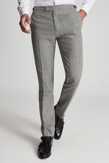 Reiss Brown Siesta Puppytooth Check Slim Fit Trousers