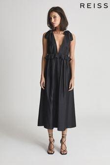 REISS Laura Silk Blend Midi Dress