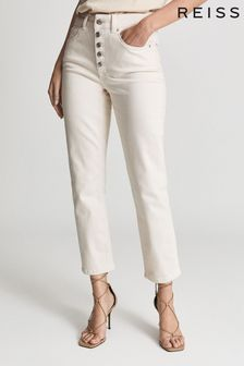 Reiss White Bailey Mid Rise Slim Cropped Jeans