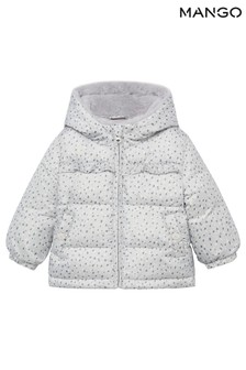 Mango Grey Faux-Fur Quilted Coat