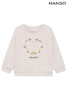 Mango Cream Pom Pom Printed Sweatshirt