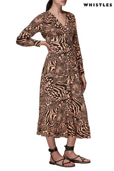 Whistles Patchwork Animal Midi Dress