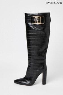 River Island Black Branded High Leg Boots