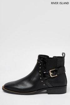 River Island Black Emboss Buckle Chelsea Boots