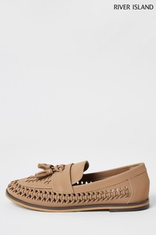 River Island Brown Basket Weave Loafers