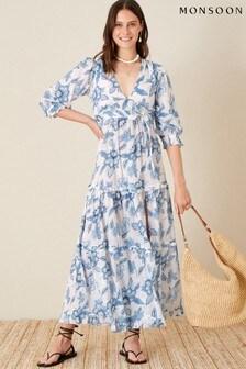 Monsoon Blue Roxanna Floral Tiered Maxi Dress