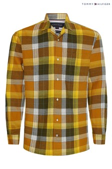 Tommy Hilfiger Gold Cotton Linen Check Shirt