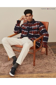 Tommy Hilfiger Mens Blue Wool Blend Overshirt