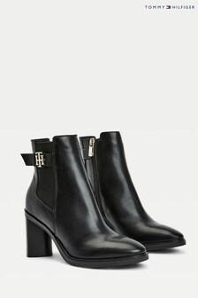 Tommy Hilfiger Black Th Hardware High Heeled Boots