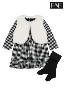 F&F Black Gingham Dress Gilet Set