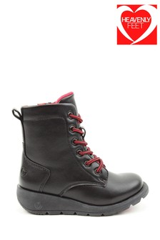 Heavenly Feet Black Junior Girls Lace Ankle Boots