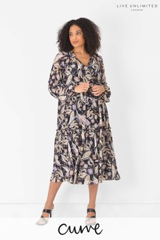 Live Unlimited Curve Black Paisley Tiered Dress