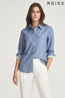 REISS Blue Mimi Cotton Twin Pocket Shirt