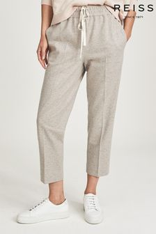 Reiss Grey Maisie Textured Drawcord Trousers