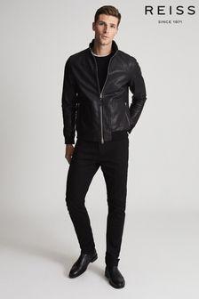 Reiss Black Walton Funnel Neck Leather Jacket