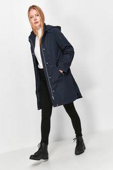 M&Co Blue Hooded Long Rain Jacket