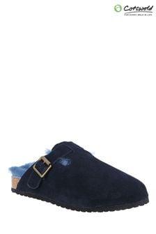 Cotswold Womens Blue Ruspidge Sheepskin Mule Slippers