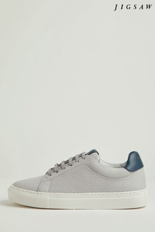 Jigsaw Grey Miah Lace-Up Leather Trainers