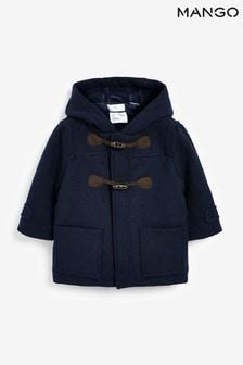 Mango Blue Woollen Coat With Toggles