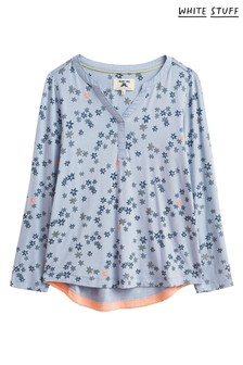 White Stuff Blue Denim Bella Printed Pyjama Top