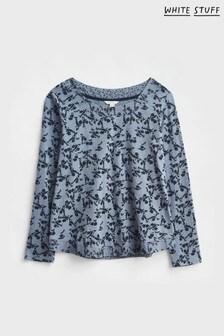 White Stuff Womens Blue Long Sleeve Weaver Jersey T-Shirt