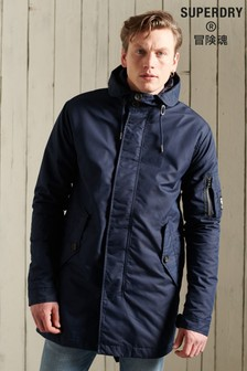 Superdry Blue Service Midweight Parka Coat