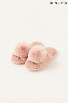 Monsoon Pink Faux Fur Pom-Pom Slippers