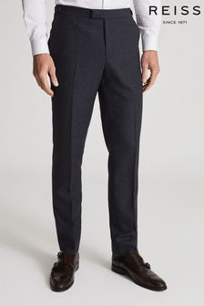 Reiss Blue Swing Wool Blend Checked Slim Fit Trousers