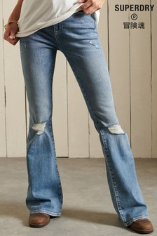 Superdry Blue High Rise Skinny Flare Jeans