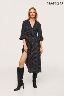 Mango Black Midi Printed Dress