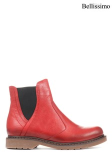 Bellissimo Red Ladies Leather Chelsea Boots