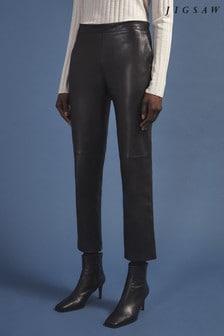 Jigsaw Black Leather Bardot Trousers