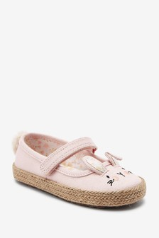 Pink Bunny Standard Fit (F) Canvas Mary Jane Shoes (Younger)