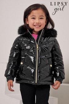 Lipsy Black Wetlook Shower Resistant Mini Short Padded Coat