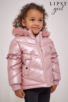 Lipsy Pink Wetlook Mini Short Padded Coat