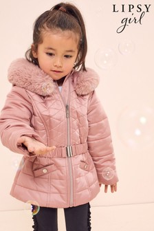 Lipsy Pink Mini Belted Padded Coat