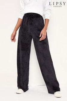 Lipsy Black Lounge Velour Wide Leg Trouser