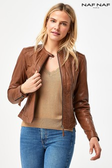 Naf Naf Brown Leather Jacket