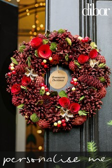 Personalised Red Rose Thistle Wreath by Dibor