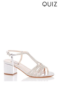 Quiz Silver Diamante Strappy Block Heel Sandal